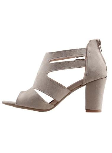 Ayakland Ayakland 811-51 Günlük 7 Cm Topuklu Bayan Süet Sandalet Ayakkabı Ten